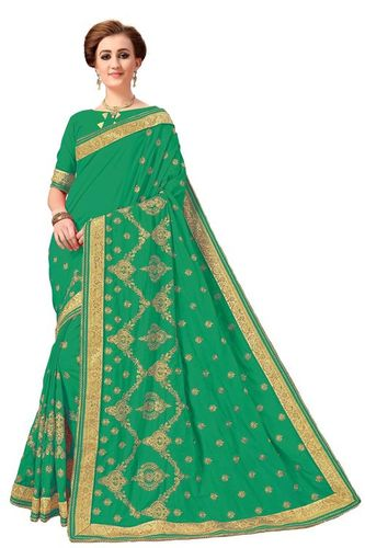 Heavy Embroidered Silk Saree