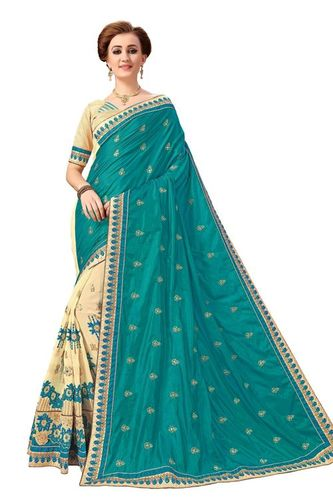 Silk & Georgette Embroidery Half & Half Saree(K791)