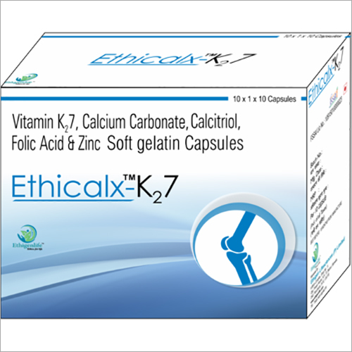 Vitamin K2 7 Calcium Carbonate Calcitriol Folic Acid & Zinc Soft Gelatin Capsules