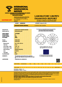 1.05ct Diamond H VS2 IGI Certified Lab Grown CVD ROUND BRILLIANT CUT TYPE2A