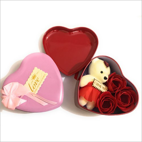 Heart Shaped Box With Teddy And Roses