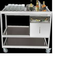 Bar Trolley SS with Insulated Ice Box