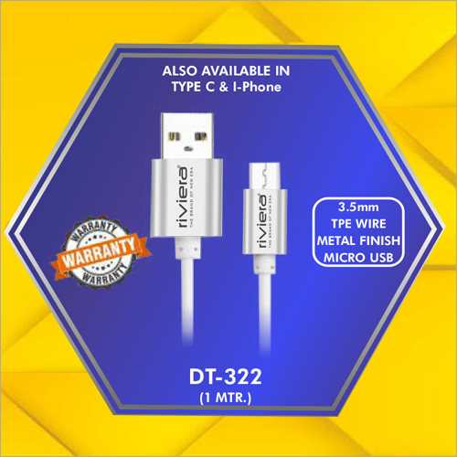 3.5 mm Metal Finish Micro Usb Data Cable