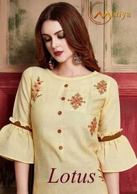 Fancy Pattern & Embroidery Work Straight Cut Kurti With Plazzo