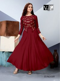 Rayon Dyed 14 Kg With Embroidery    High-Low Crop Top With Skirt With Stylish Sleeves