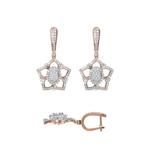 Diamond Earring TCW 1.952 14K gold 12.5 gm