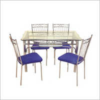 4 Seater SS Dining Glass Top Table