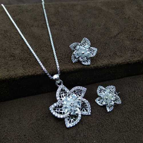 Latest Design silver plated AD Pendant Set