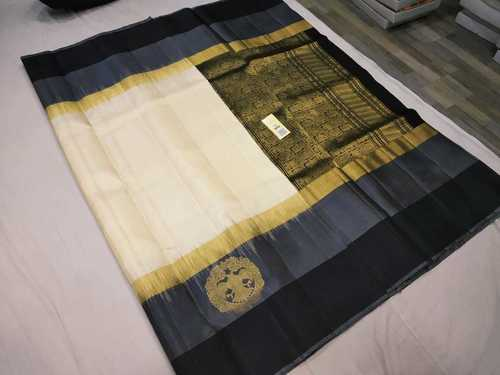 Pure Kanchipuram Silk Sarees Double Color Border