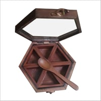 Hexagonal Wooden Spices Box