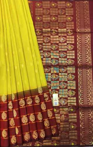 Pure Kanchipuram Silk Sarees Skirt Border Yellow And Brown Combination