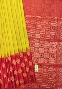 Pure Silk Skirt Border Yellow And Pink Combination