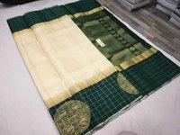 Pure Silk Skirt Border Checked Side Butta