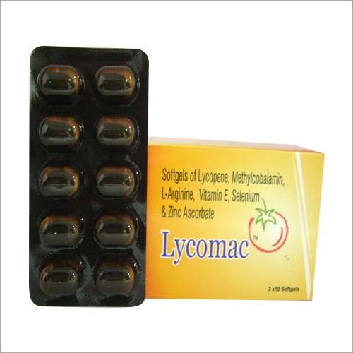 Softgels of Lycopene Methylcobalamin L-Arginine Vitamin E Selenium And Zinc Ascorbate Softgel Capsules