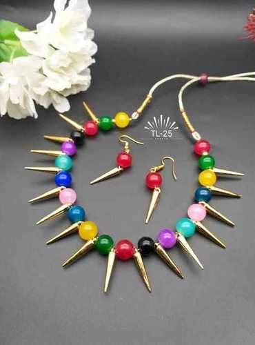 Fancy Beaded Necklace with Earrings