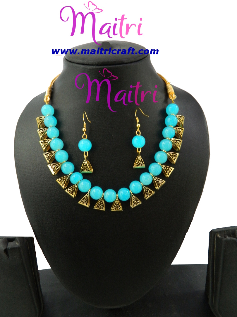 Handmade Glass Bead Necklace with Earring