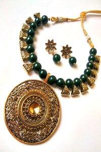 Fancy Beaded Necklace with Earrings