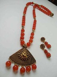 Beaded Long Necklace with Earrings