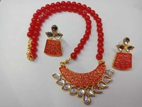 Fancy Pendant Beaded Necklace Set