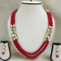 Double Line Kundan Necklace with Earrings