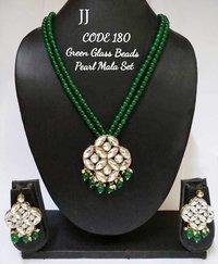 Kundan Pendant Beaded Necklace Set