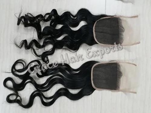 Transparent wavy lace closure