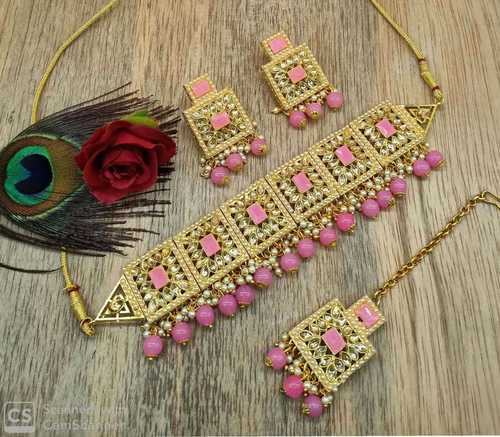 Kundan Choker Necklace with Earrings