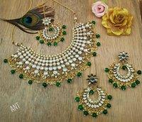 Choker Kundan Necklace with Earrings and Maang Tika