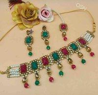 Kundan and Pearl Choker Necklace Set