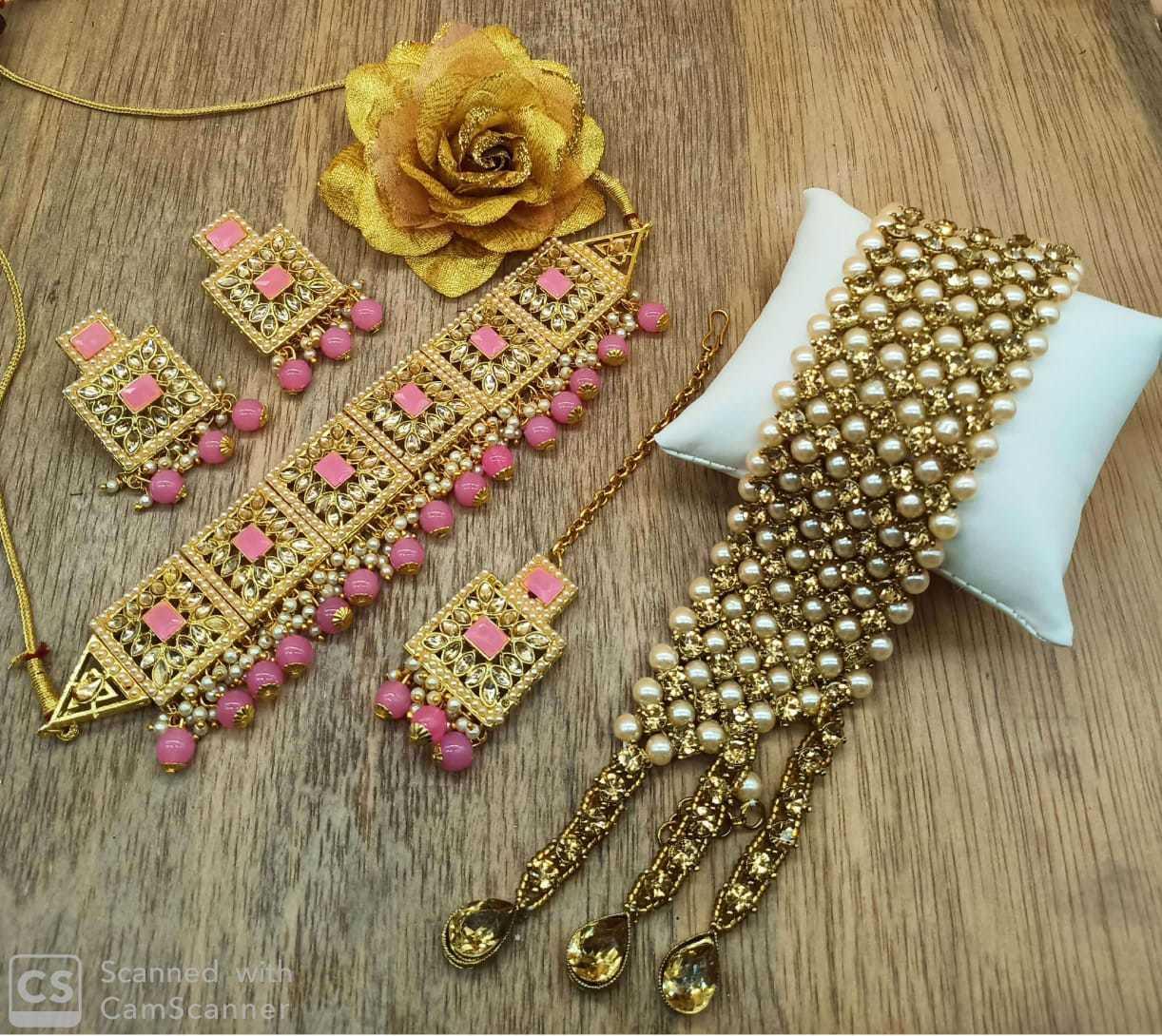 Pink Kundan Choker Necklace Set with Bracelet