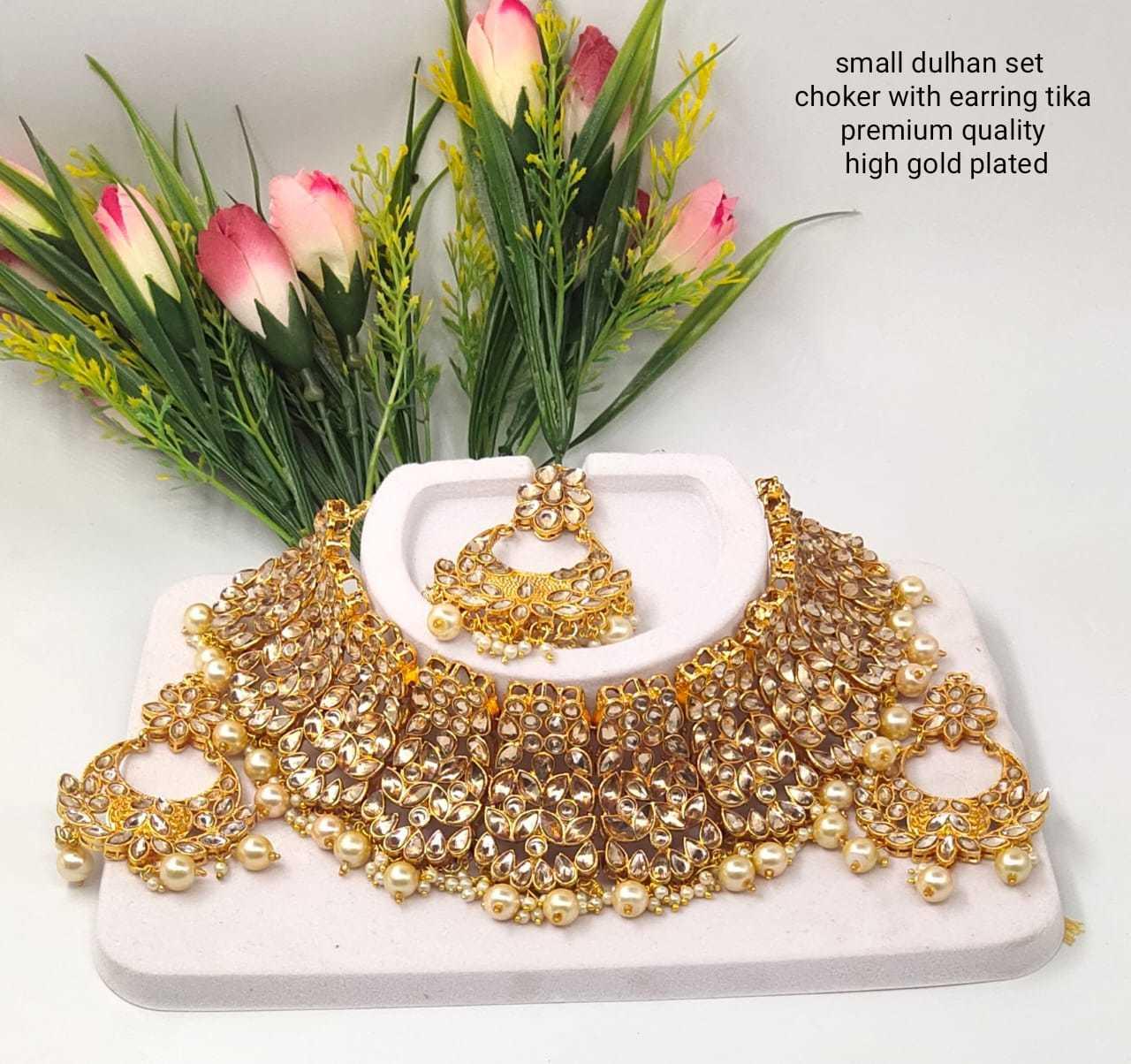 Golden Metal Kundan Choker Necklace Set
