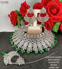 Bridal Silver Choker Necklace Set