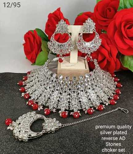 Silver Bridal Necklace Full Set