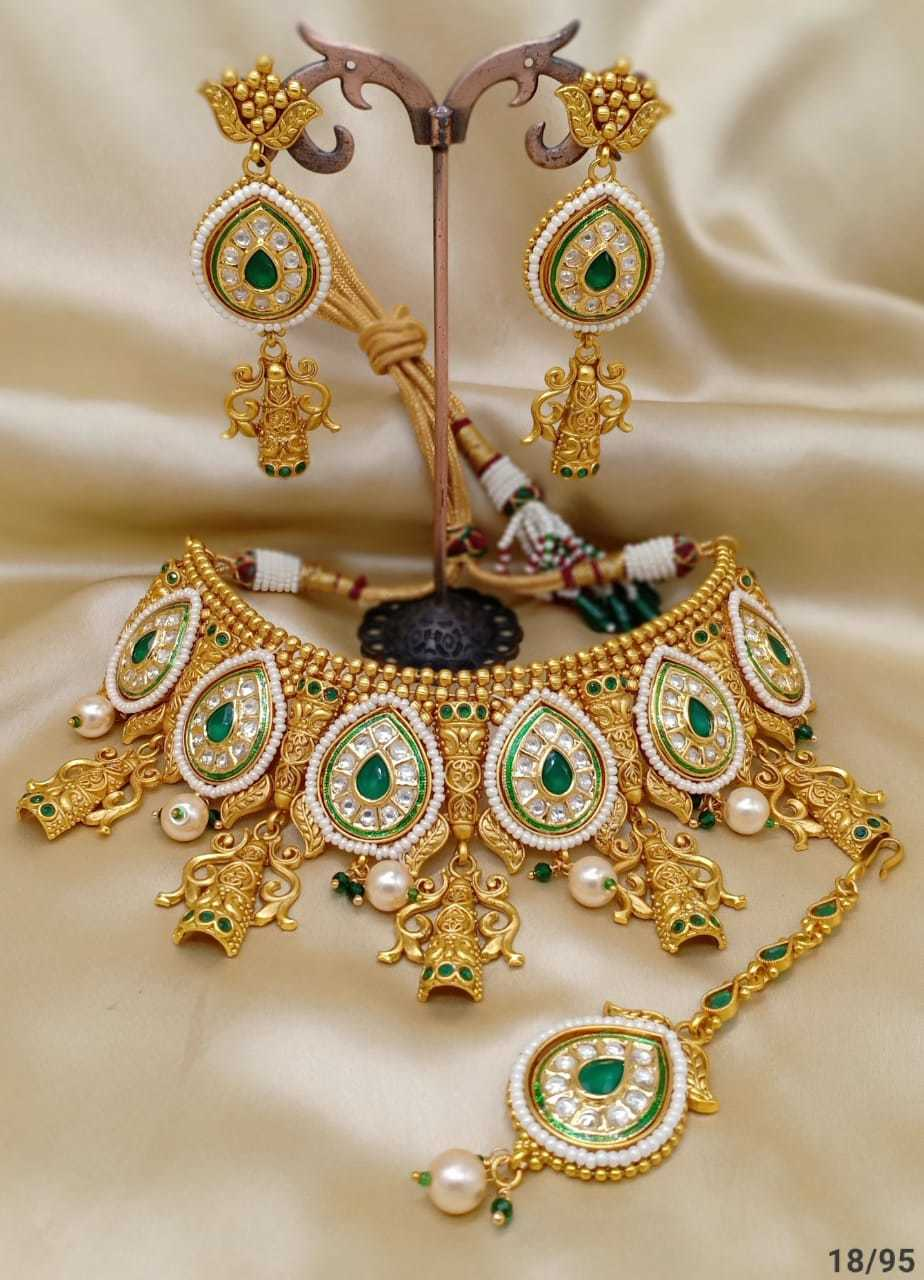 Bridal Golden Pearl Choker Necklace Set