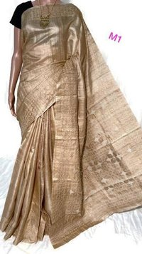 Unique gorgrous hand applique work on pure desi tussar (kosa) silk saree, with blouse 6. 5 mtrs