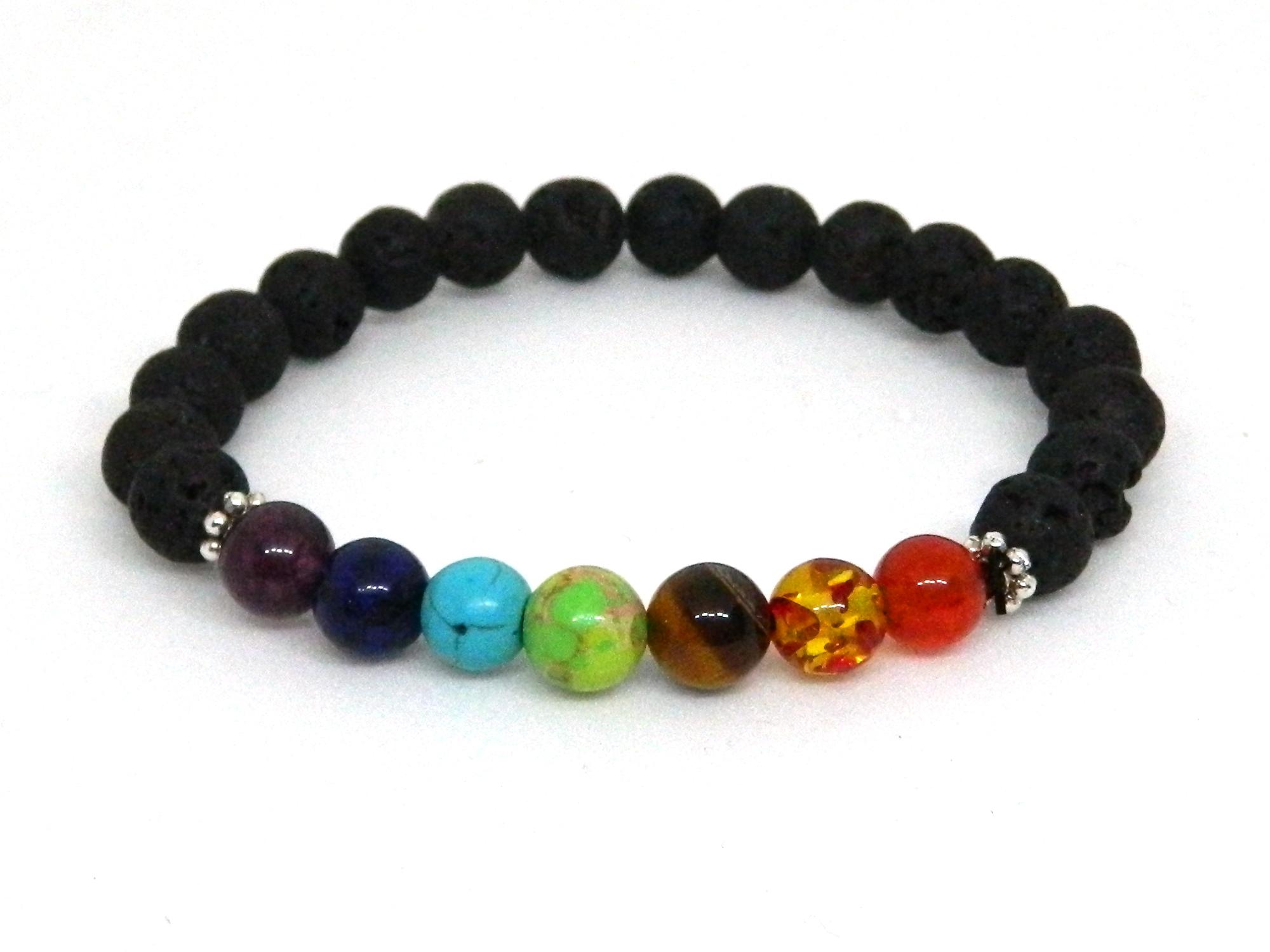Seven Chakra Bracelet with Lava Beads