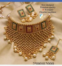 Copper Bridal Necklace Set with Earrings and Maang Tika