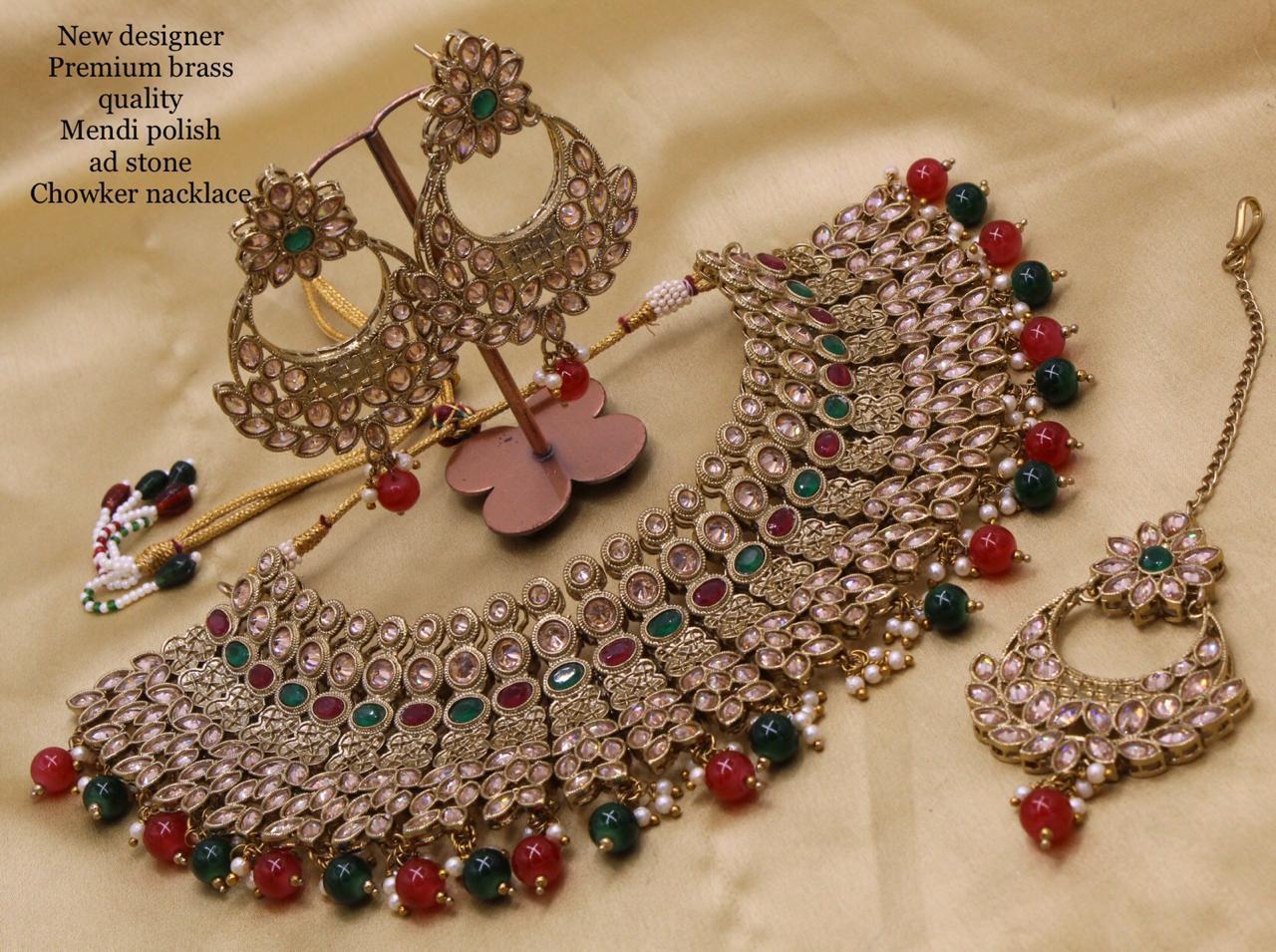 Multicolor Kundan Bridal Choker Necklace Set