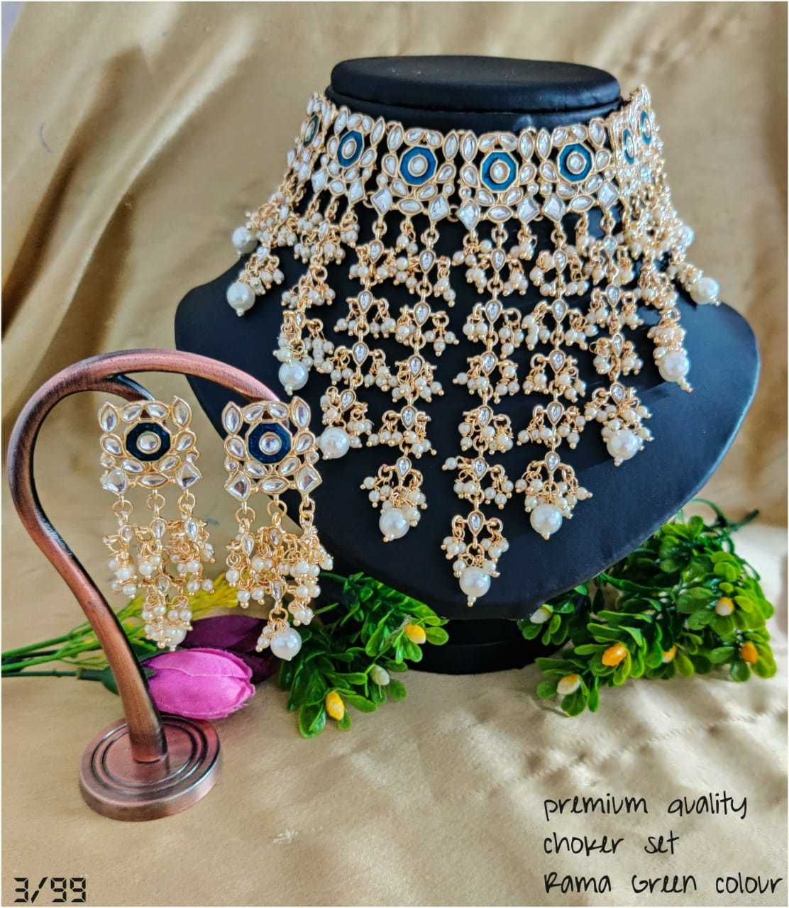 Choker Stone Necklace with Earrings and Maang Tika