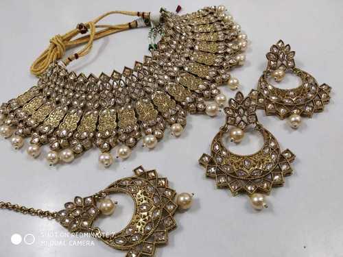 Silver Stone Bridal Choker Necklace Set