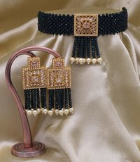 Pearl Choker Necklace Set with Earrings