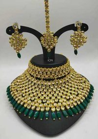 Polki Necklace Set with Earrings and Maang Tika