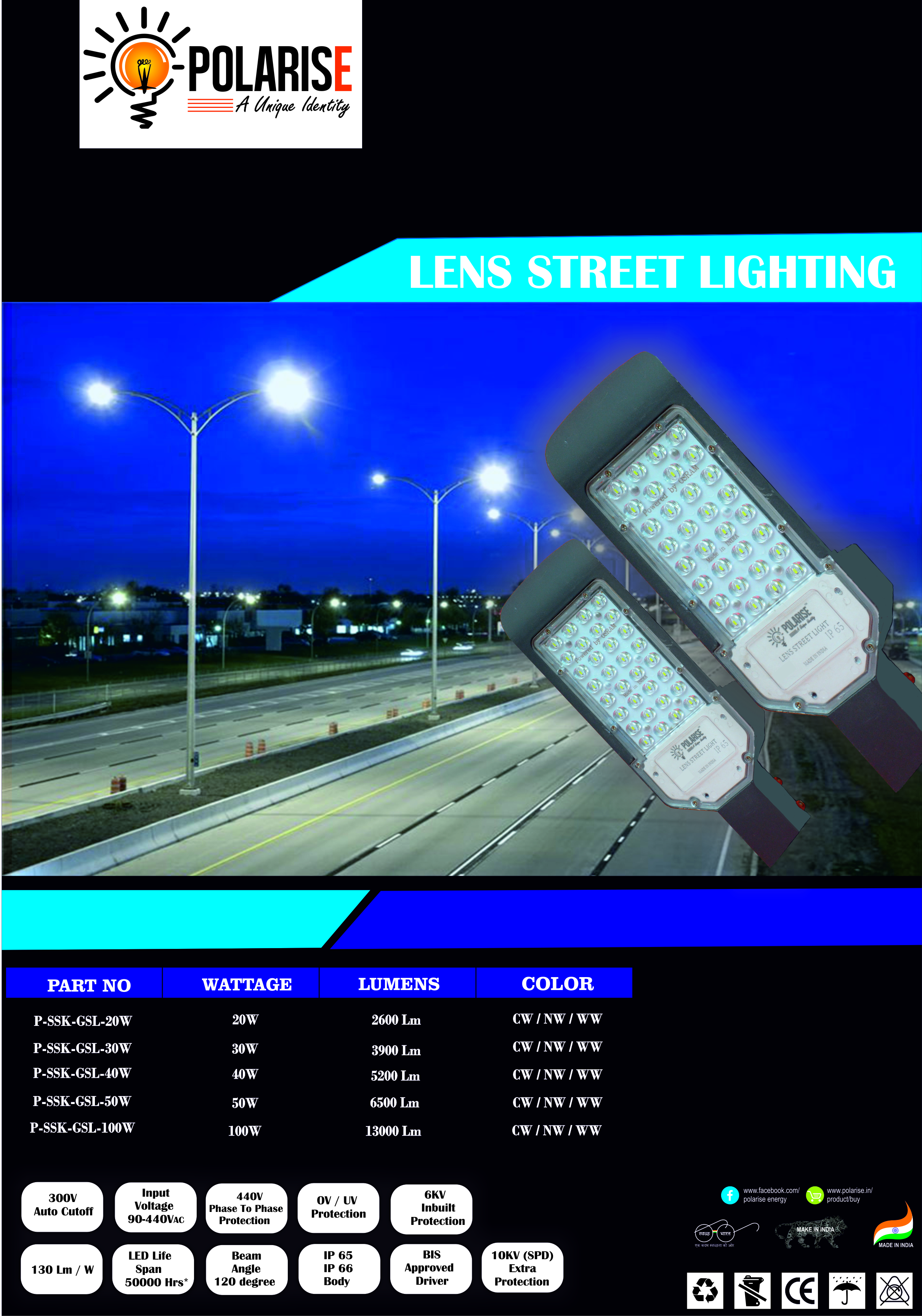 50W Lens Street Light