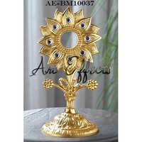Gold Plated Sun Flower Design Brass Monstrance