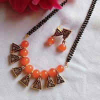 Glass Beaded Mangalsutra With Earrings