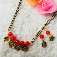 Leaf Design Mangalsutra with Earrings