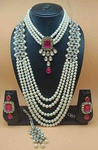 Beaded Kundan Combo Necklace Set