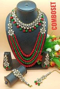 Multi Line Kundan Combo Necklace Set
