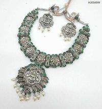 Silver Oxidized Temple Necklace Set