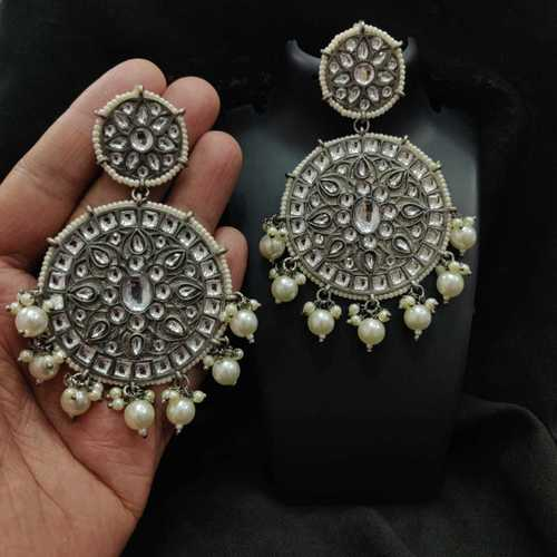 Silver Oxidized Kundan Earrings